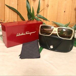 Salvatore Ferragamo Pearl Gold Sunglasses